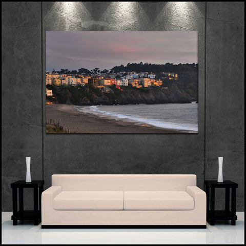 """Baker Beach Houses"" San Francisco Fine Art Gallery Wrapped Canvas Print"
