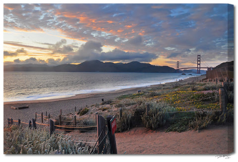 """Baker Beach Pathway"" San Francisco Fine Art Gallery Wrapped Canvas Print"
