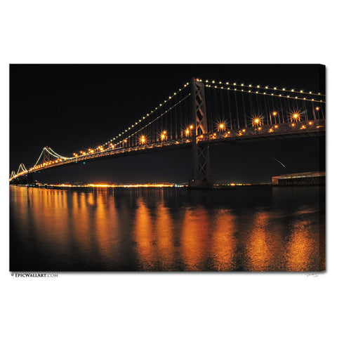 """The Bay Bridge"" San Francisco Fine Art Gallery Wrapped Canvas Print"