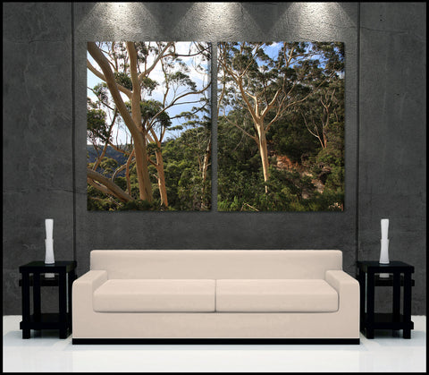 """Blue Mountains Forest"" Sydney 2-Piece Fine Art Canvas Wall Display"