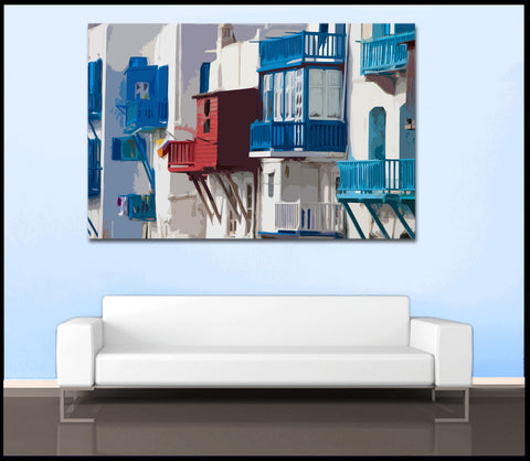 """Little Venice"" Digital Art Greek Islands Fine Art Gallery Wrapped Canvas"