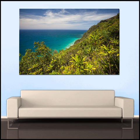 """Tropical Kauai Coastline"" Hawaii Fine Art Gallery Wrapped Canvas Print"