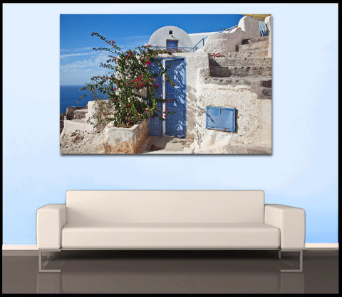 """Oia Flowers"" Fine Art Gallery Wrapped Canvas Print"