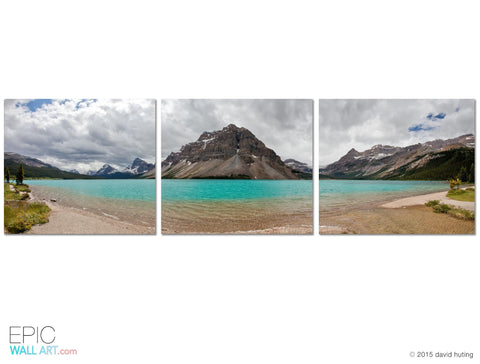 """Bow Lake Panoramic"" 3-Piece Triptych Gallery Wrapped Canvas Wall Art Mural"