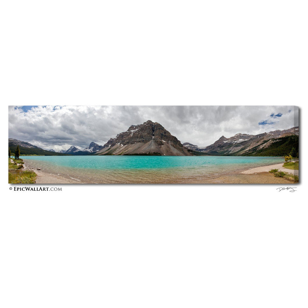 Bow Lake Panorama Banff Fine Art Gallery Wrapped Canvas Print Epicwallart Com