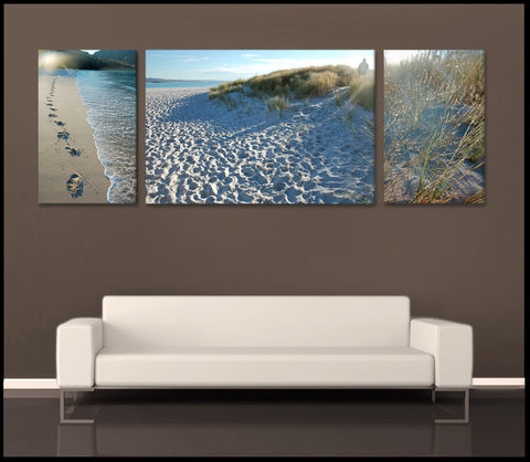 """Wineglass Bay Sunlight"" Tasmania 3-Piece Fine Art Canvas Wall Display"