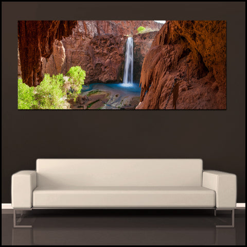 """Mooney Falls Cave View"" Havasupai Panoramic Fine Art Gallery Wrapped Canvas Print"