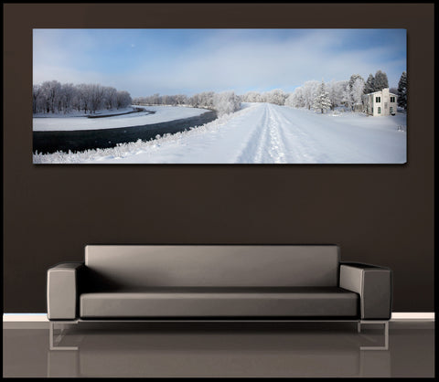 """White Winter River"" Panoramic Fine Art Gallery Wrapped Canvas Print"