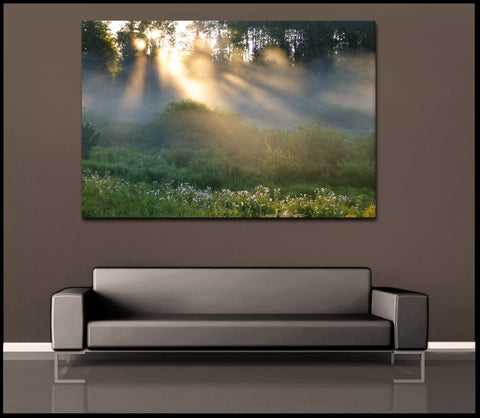"""Golden Forest Fog"" Minnesota Nature Fine Art Gallery Wrapped Canvas Print"