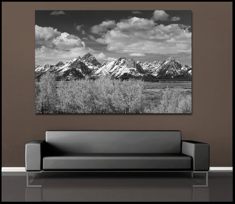 """The Grand Tetons"" Black & White Fine Art Gallery Wrapped Canvas Print"
