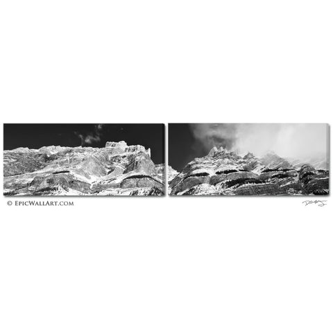 """The Canadian Rockies"" 2-Piece Panoramic Fine Art Gallery Wrapped Canvas Prints"