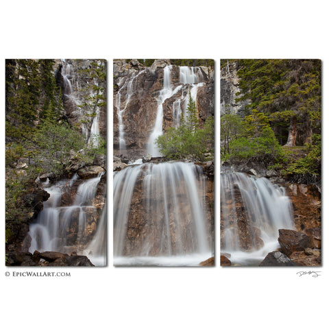 """Flowing Forest Falls"" Tryptich 3-Piece Fine Art Canvas Wall Display"
