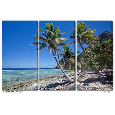 """Castaway Island Beach"" 3-Piece Fine Art Canvas Wall Display by David Huting"