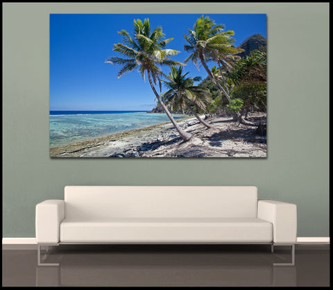 """Castaway Island Beach"" Tropical Fine Art Gallery Wrapped Canvas Print"