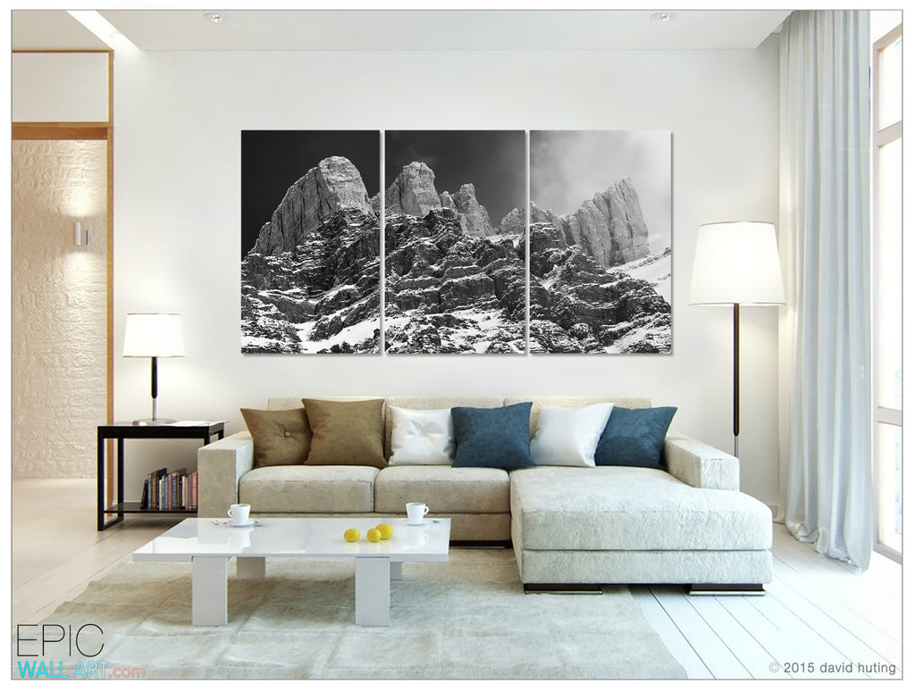 Castles In The Sky Rocky Mountains Black White Fine Art 3 Piece