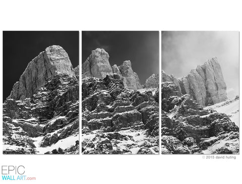 """Castles in the Sky"" Rocky Mountains Black & White Fine Art 3-Piece Triptych Set"