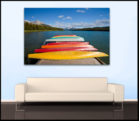 """Colorful Canoes"" Maligne Lake Fine Art Gallery Wrapped Canvas Print"