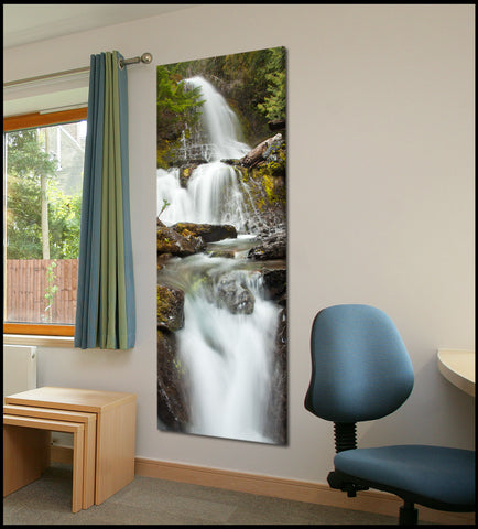 """Cougar Falls Flowing"" Mt Rainier Vertical Panoramic Fine Art Gallery Wrapped Canvas Print"