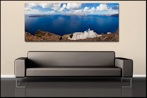 """Coastal Church Panoramic"" Greek Islands Fine Art Gallery Wrapped Canvas Print"