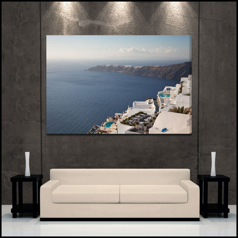"""Coastal Skies"" Greek Islands Fine Art Gallery Wrapped Canvas Print"