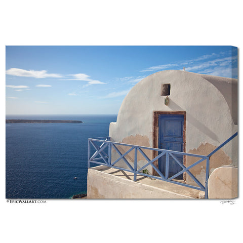"""Coastal Home"" Greek Islands Fine Art Gallery Wrapped Canvas Print"