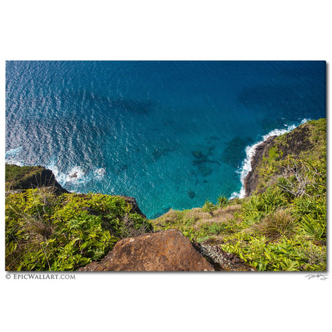 """Coastal Cliff"" Kauai Hawaii Fine Art Gallery Wrapped Canvas Print"