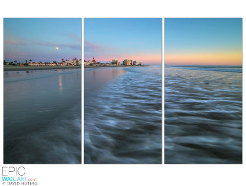 """Coronado Sunset Wave"" 3-Piece Triptych Fine Art Gallery Wrapped Canvas Set"