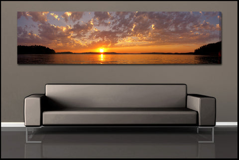 """Crane Lake Sunset"" Panoramic Fine Art Gallery Wrapped Canvas Print"