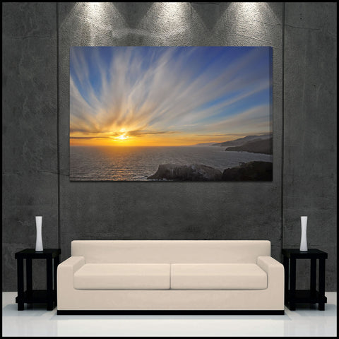 """Sunset Explosion"" Northern California Fine Art Gallery Wrapped Canvas Print"