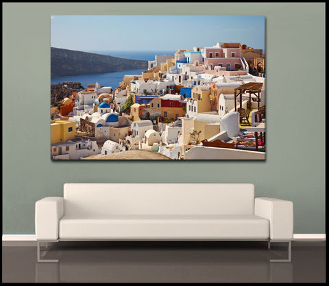 """Coastal Village Colors"" Greek Islands Fine Art Gallery Wrapped Canvas Print"