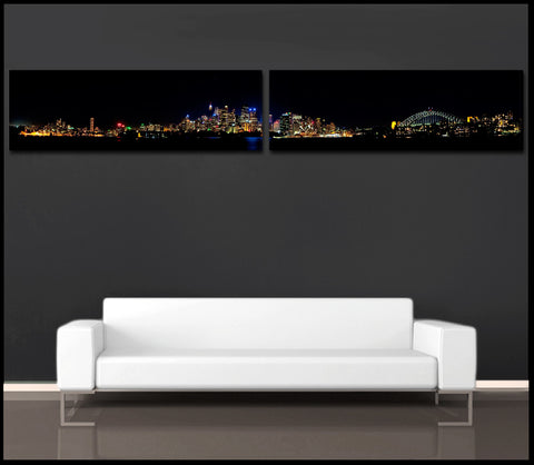 """The Sydney Harbor"" 2-Piece Panoramic Fine Art Gallery Wrapped Canvas Prints"