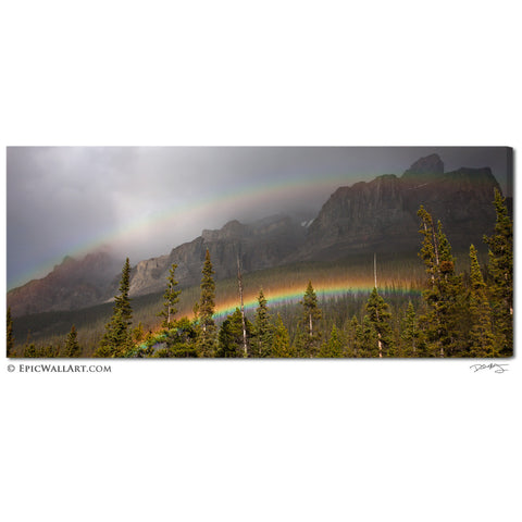 """Mountain Rainbows"" Banff Panoramic Fine Art Gallery Wrapped Canvas Print"
