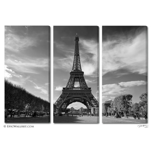 """The Eiffel Tower"" Paris 3-Piece Black & White Fine Art Canvas Wall Display"