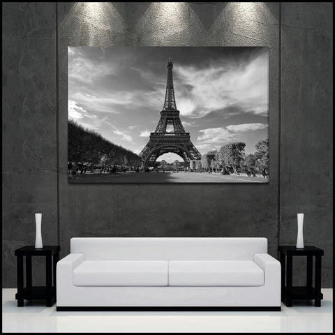 """The Eiffel Tower"" Paris Black & White Fine Art Gallery Wrapped Canvas Print"