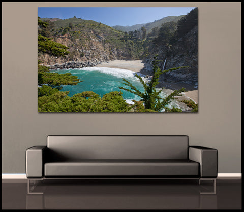 """Forbidden Falls"" Mcway Falls Big Sur Fine Art Gallery Wrapped Canvas Print"