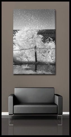 """Frozen Wave"" Black & White Fine Art Gallery Wrapped Canvas Print"