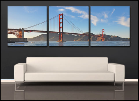 """Golden Gate Sunset"" Triptych 3-Piece Fine Art 3-Piece Canvas Set"