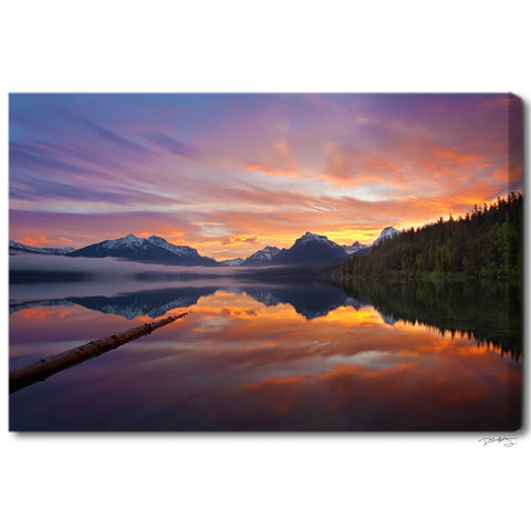 """Glorious Glacier Sunrise"" Montana Fine Art Gallery Wrapped Canvas Print"