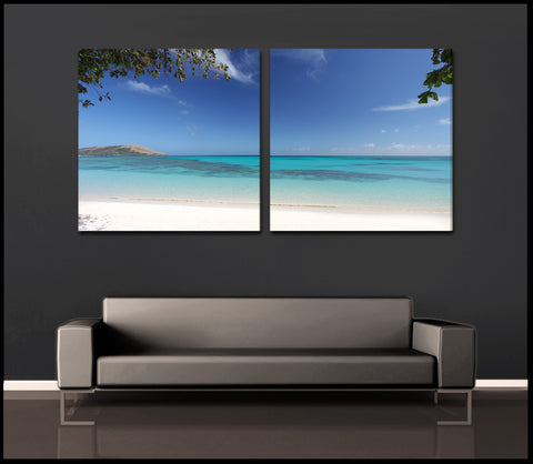 """Glowing Lagoon"" Fiji Islands 2-Piece Fine Art Canvas Wall Display"