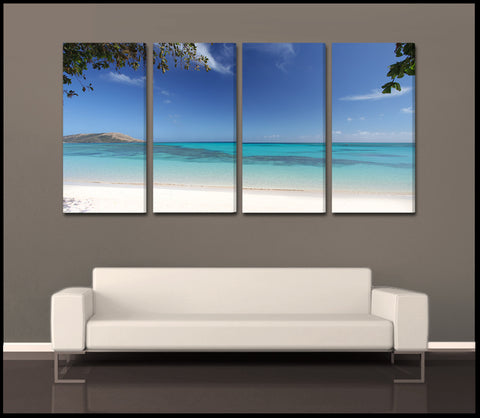 """Glowing Lagoon"" Fiji Tropical 4-Piece Epic Fine Art Canvas Wall Display"