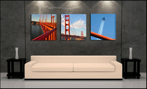 """The Golden Gate"" San Francisco 3-Piece Fine Art Gallery Wrapped Canvas Set"