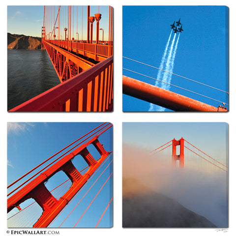 """The Golden Gate"" Iconic San Francisco 4-Piece Gallery Wrapped Canvas Set"
