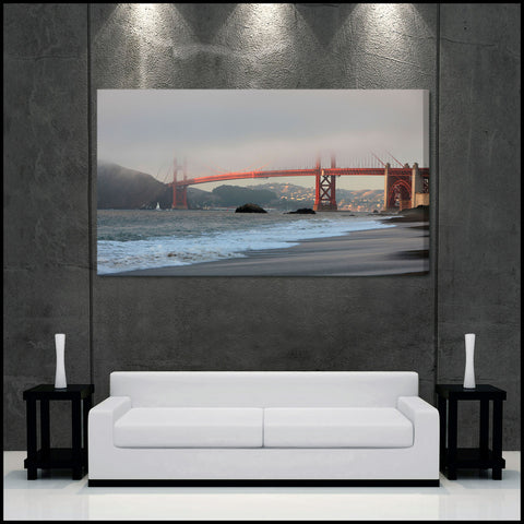 """Golden Gate Fog"" San Francisco Fine Art Gallery Wrapped Canvas Print"