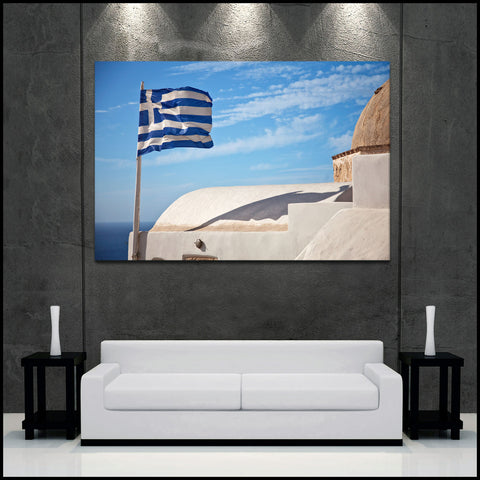 """Greece Flag Blowing"" Santorini Fine Art Gallery Wrapped Canvas Print"