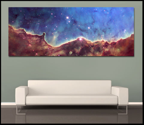"""NGC 3324 Nebula"" NASA Panoramic Fine Art Gallery Wrapped Canvas Print"