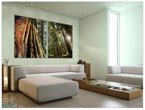 """Cedar Forest Giant"" 2-Piece Fine Art Canvas Wall Mural Set"