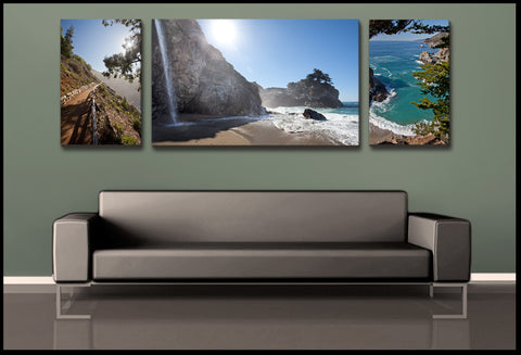 """Big Sur Sunlight"" California 3-Piece Fine Art Canvas Wall Display"
