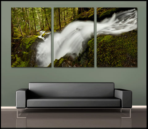 """The Flowing Forest"" Mt Rainier Triptych 3-Piece Fine Art Canvas Wall Display"