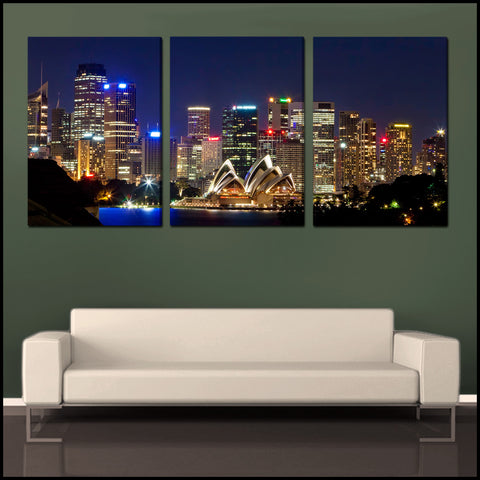 """Sydney Skyline"" Triptych 3-Piece Epic Fine Art Canvas Wall Display"