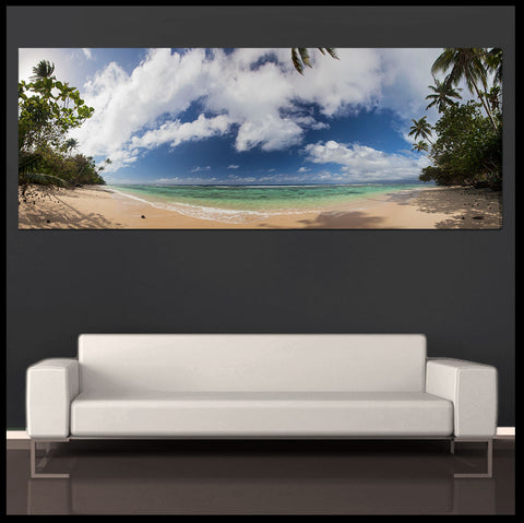 """Qamea Beach"" Fiji Islands Panoramic Fine Art Gallery Wrapped Canvas Print"